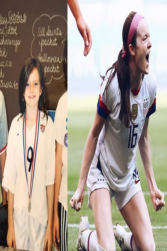 Never ever give up! Rose Lavelle in Elementary School dressed as Mia Hamm and then yesterday, after...