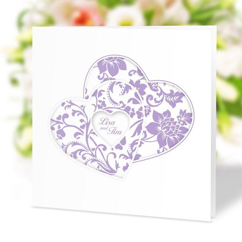 #Elegante #Hochzeitseinladung #Herzenssache #flieder