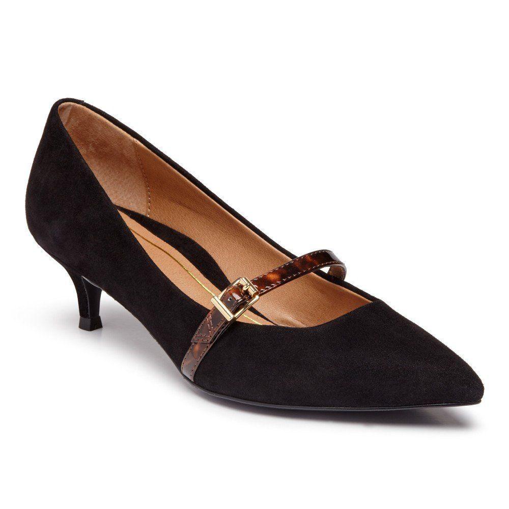 Vionic Minnie Kitten Heel With Arch Support In Black Suede In 2020 Manolo Blahnik Heels Kitten Heel Shoes Heels