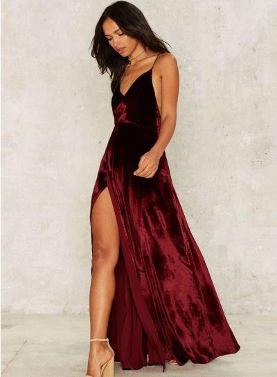 4f2287d082bad V Neck Backless Velvet Prom Dress AZBRO.com   Elegant Evening Attire ...
