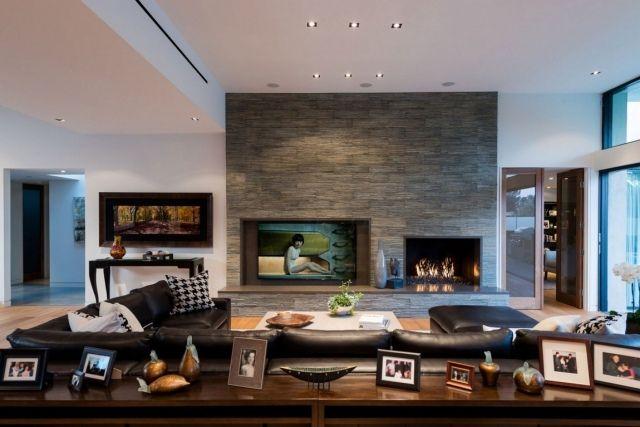 wandgestaltung dekorative paneele stein optik kaminofen wohnzimmer - Wohnzimmer Ideen Mit Kamin