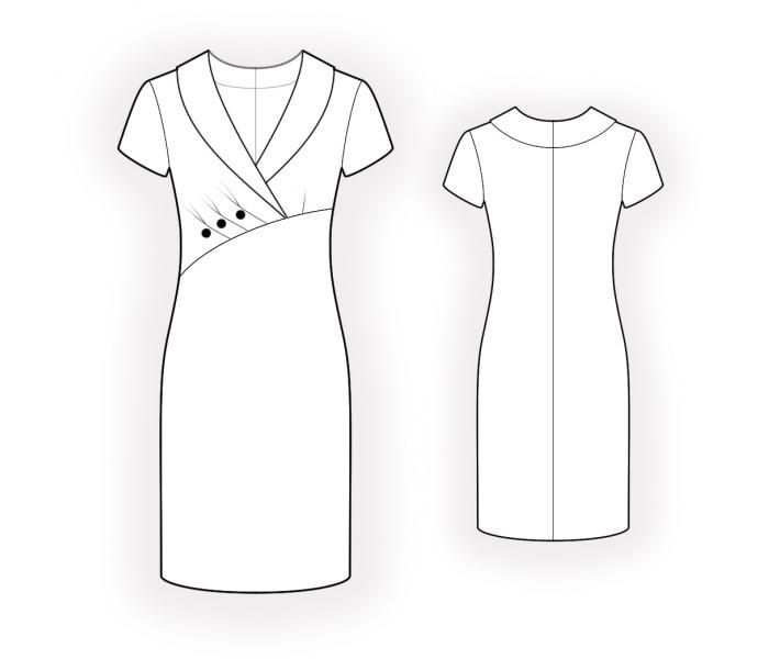 Dress With Asymmetrical Front Seam Sewing Pattern 4588 Made To