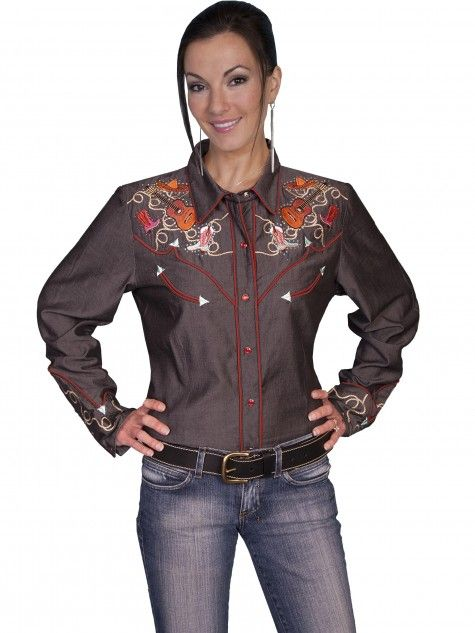 Women's Embroidered Fringe Long Suede Jacket by Scully Leather