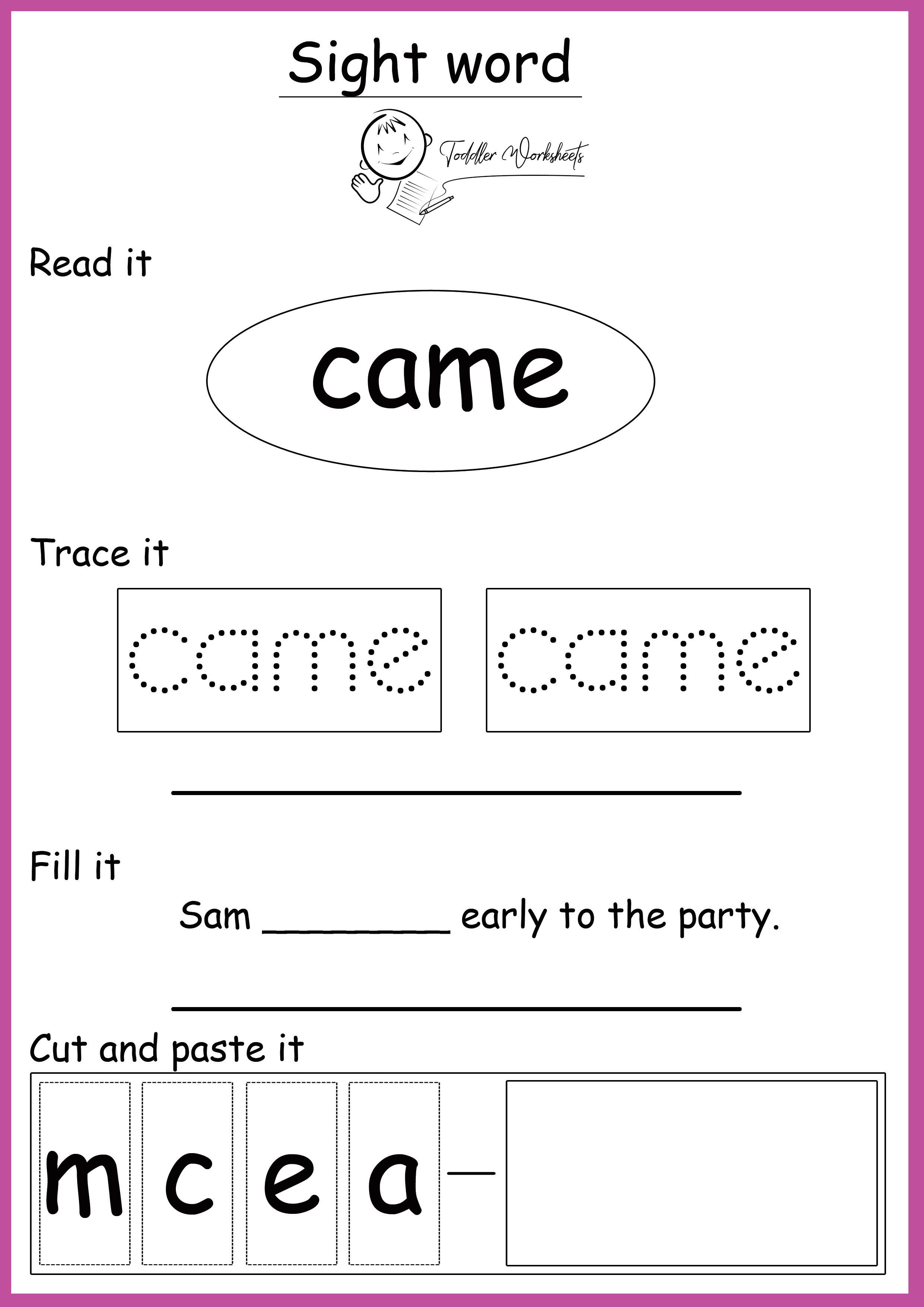 Free Preschool Site Words Worksheets Preschool Sight Words Printables Sight Word Worksheets Preschool Site