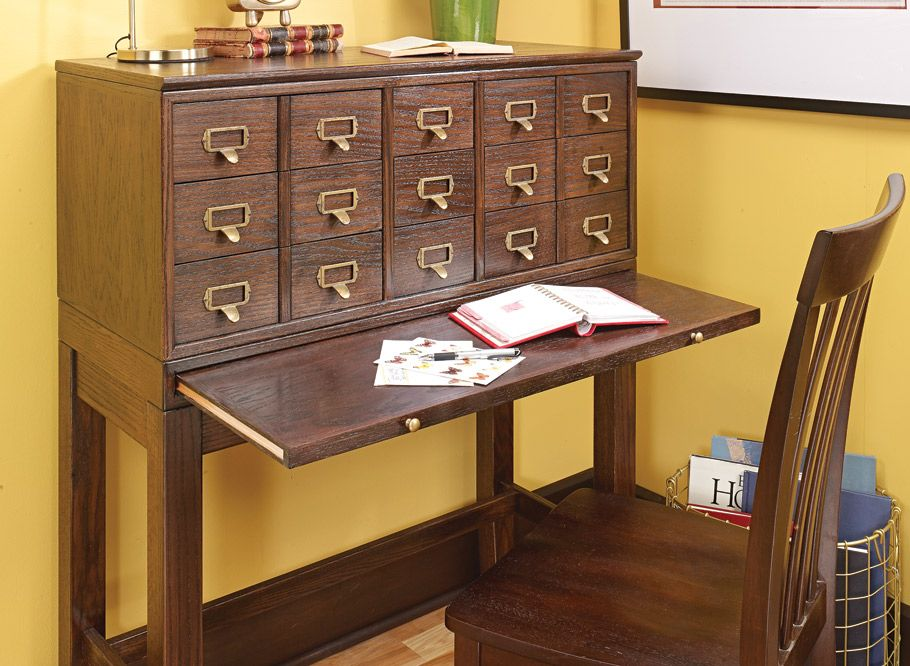 card catalog cabinet  woodworking project  woodsmith