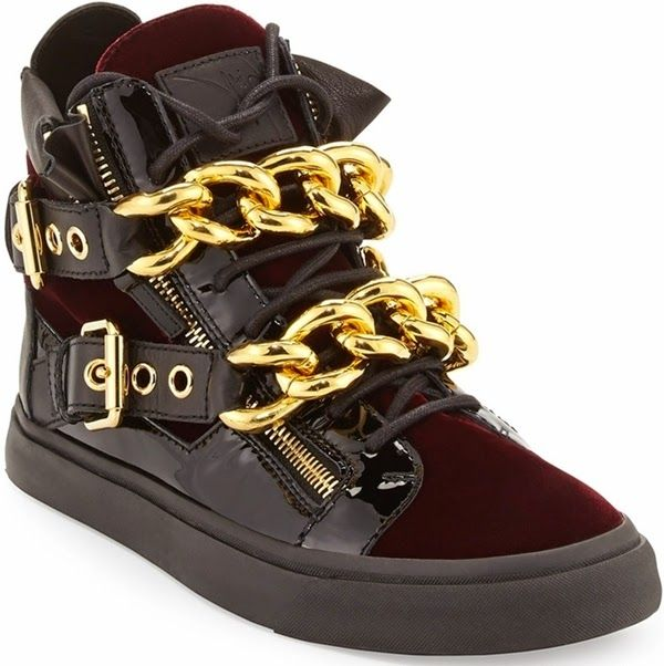 GIUSEPPE ZANOTTI 2015 SNEAKERS These high-top sneakers from Giuseppe Zanotti  Design in burgundy/bordeaux velvet are defined by a gold oversized chain to  ...