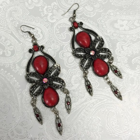 "Ruby Red Earrings 4"" dangly earrings. Faux red stones with antiqued silver filigree. Jewelry Earrings"