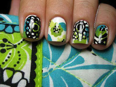Vera Bradley Lime's Up Fan Nail Art