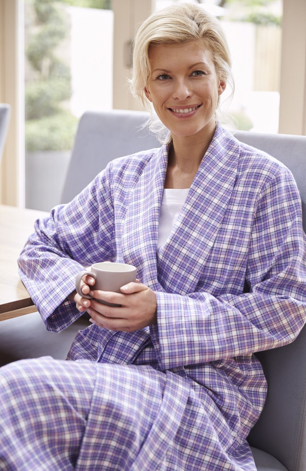Tartan Brushed Cotton Dressing Gown. A Bonsoir classic for all ...