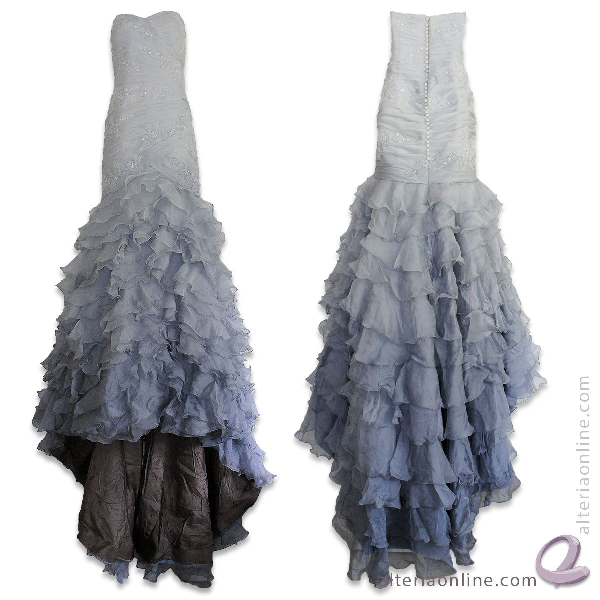 Gray Ombré Wedding Gown Hand Dyed by Alteria www.AlteriaOnline.com #dressdyeing #ombre