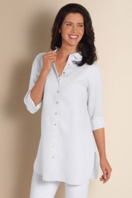 Washed Linen Shirt I - Womens Long Sleeve Linen Shirt, Womens Linen Cover-up | Soft Surroundings