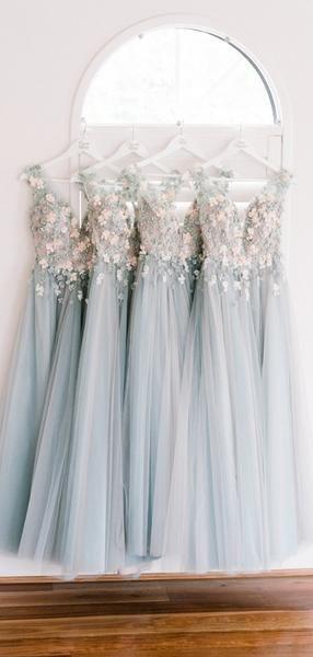Light Blue Tulle Handmade Flower Aplique Country Wedding Bridesmaid Dresses, AB4078