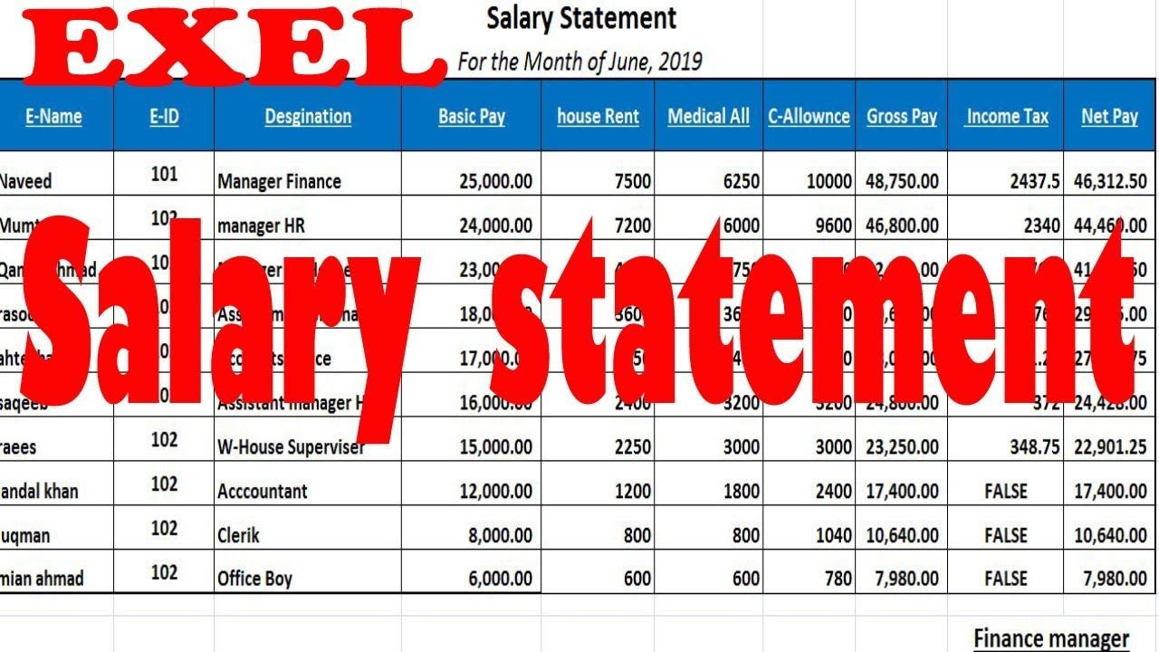 excel salary sheet and its formula by learning center in