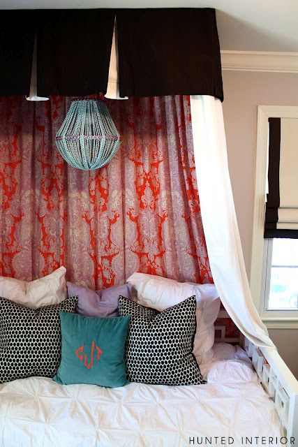 Lots of prints a lovely light a little curtain for Diy canopy over crib