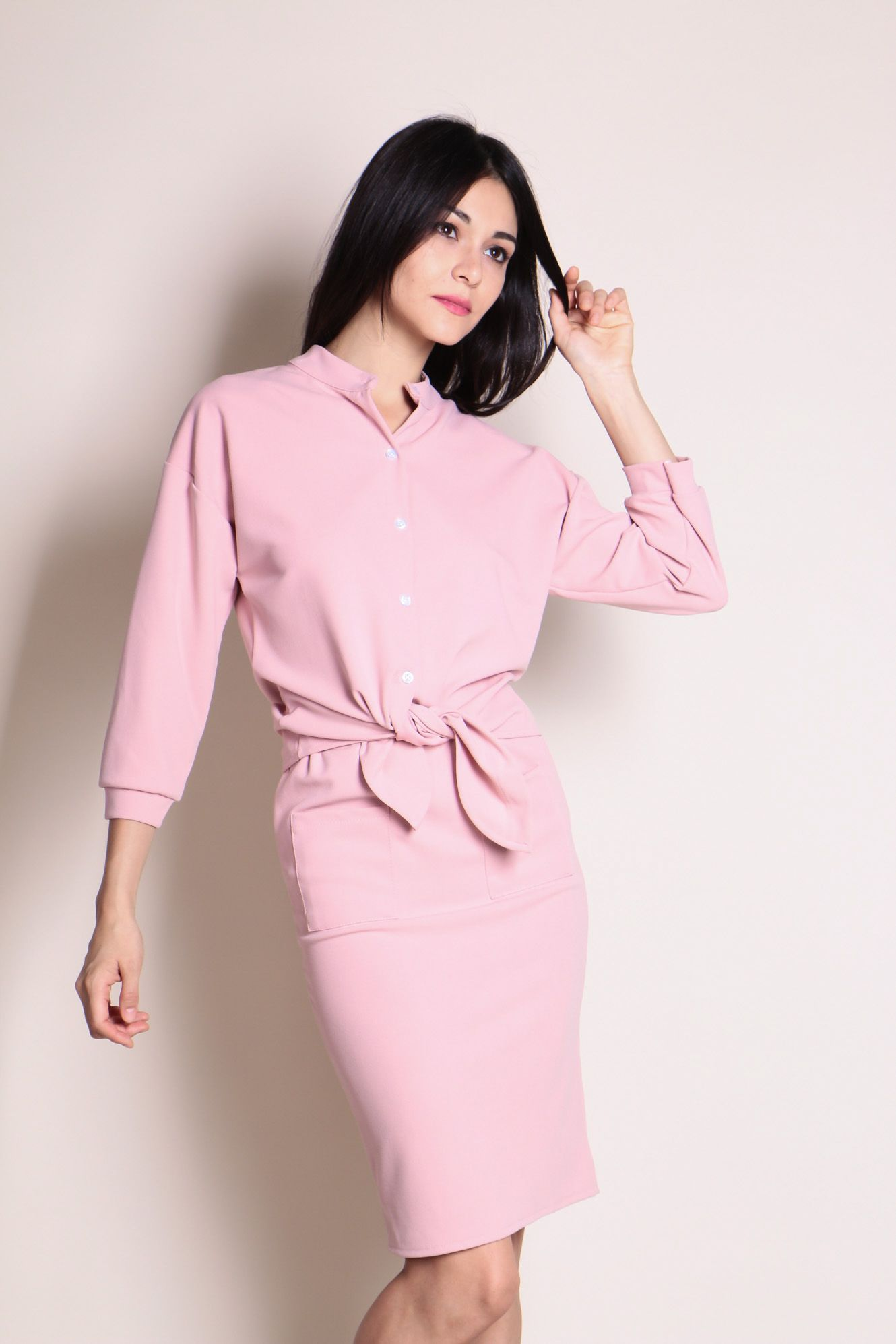Two Piece Top and Skirt Set (Pink) SGD$ 39.00