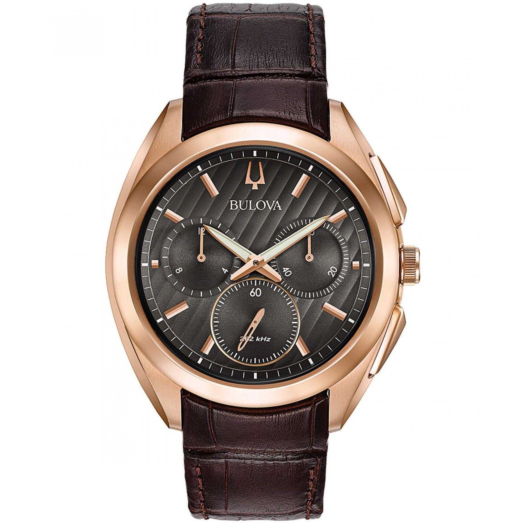 907597e63663 Reloj Bulova con caja y bisel en acero color dorado extensible tipo correa  en piel color