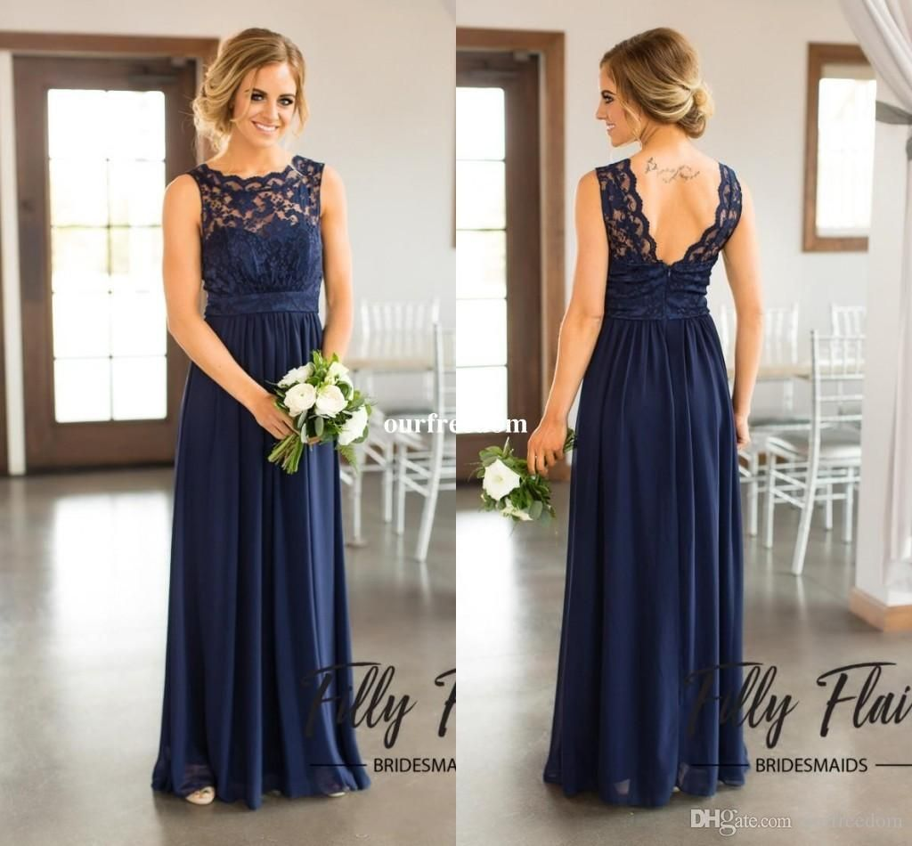 2017 navy blue lace bridesmaid dresses for country wedding a line 2017 navy blue lace bridesmaid dresses for country wedding a line jewel long chiffon bohemian summer beach wedding party evening dresses ombrellifo Image collections