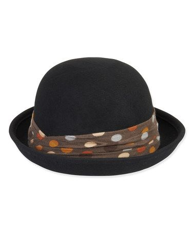 Another great find on #zulily! Black & Truffle Polka Dot Trim Wool-Blend Bowler #zulilyfinds