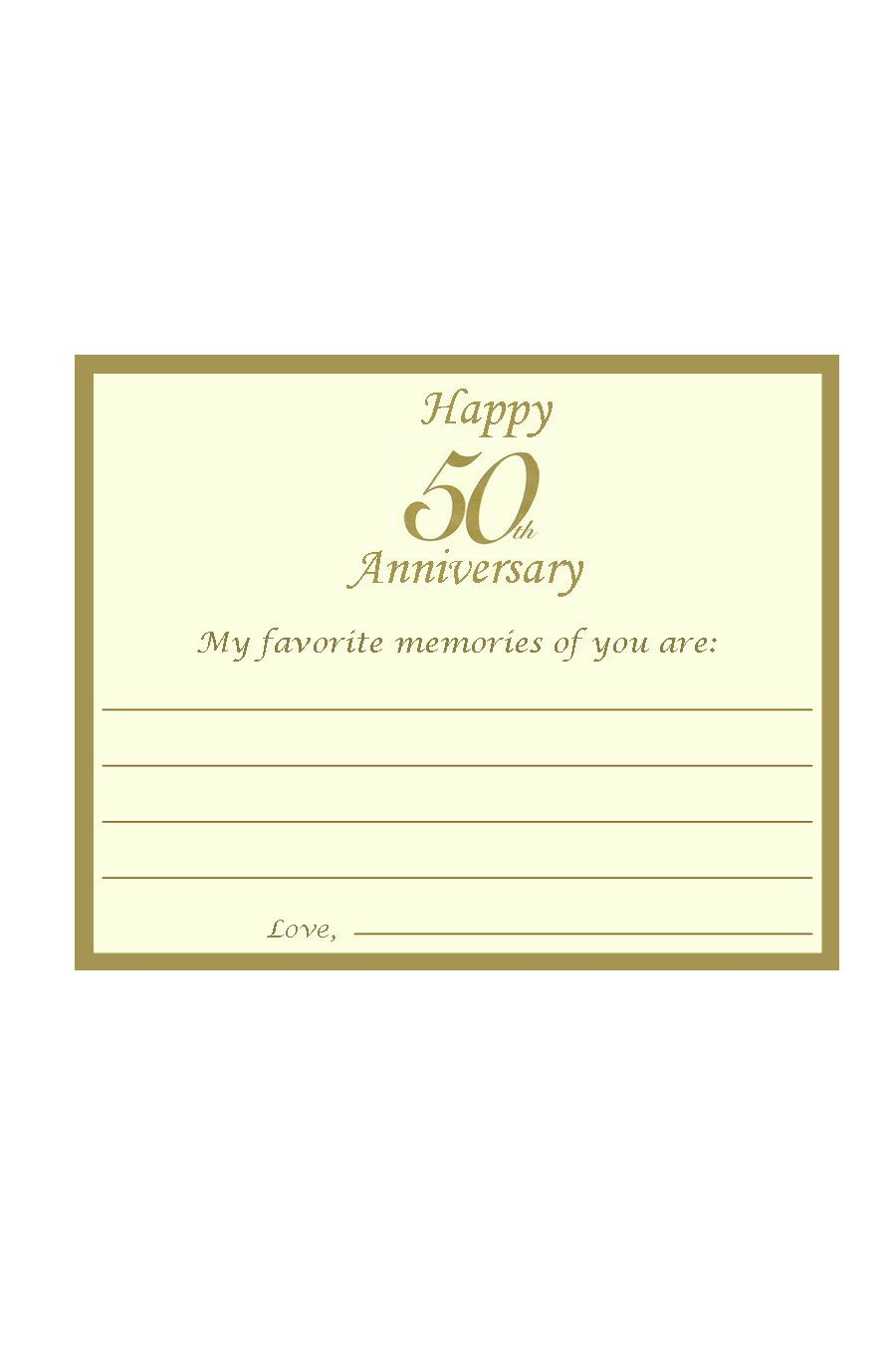 50th Anniversary Favorite Memories, Best Wishes Cards - Personalized ...