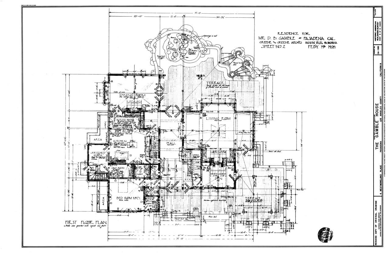 delightful house site plan #4: Gamble House ground floor plan. Greene and Greene. Pasadena, California.  1908