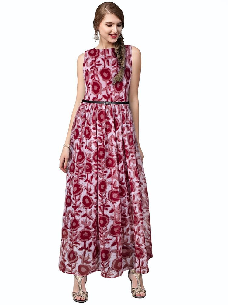 7f1c07597ea Bollywood New Party Wear Stylish Designer Printed Western Gown Dresses With  Belt  FlowersFashion  PartyWear