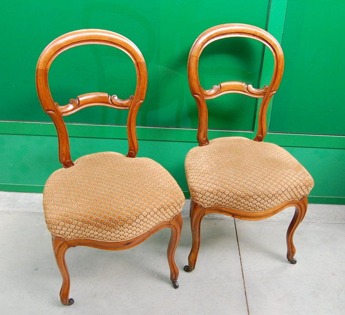 Coppia di sedie luigi filippo in noce met 39 800 patina su for Sedie fenice design
