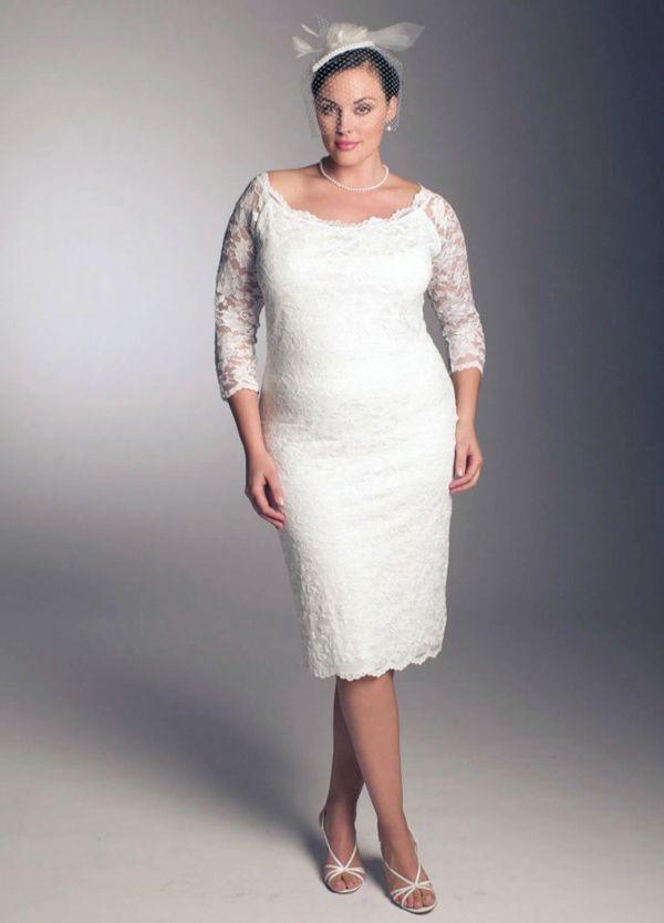 plus size wedding dresses for older brides | Plus Size Short White ...