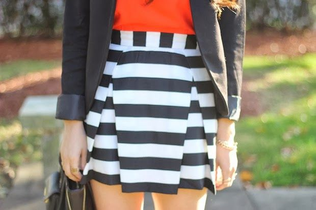 A Love Affair With Fashion : Pleated Stripes & Pop Of Color: Lucky FABB Day 2