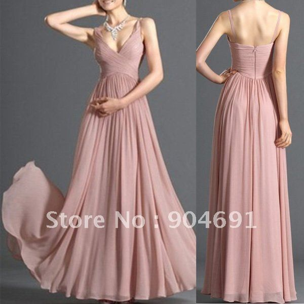 New Pink Blush Bridal Evening Dress V neck Party Dress Bridesmaid ...