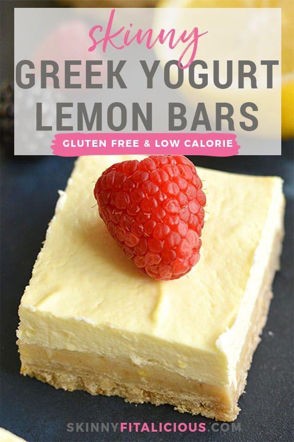 Skinny Greek Yogurt Lemon Bars! These creamy bars have a gluten free shortbread ... Diet Reci... Sk