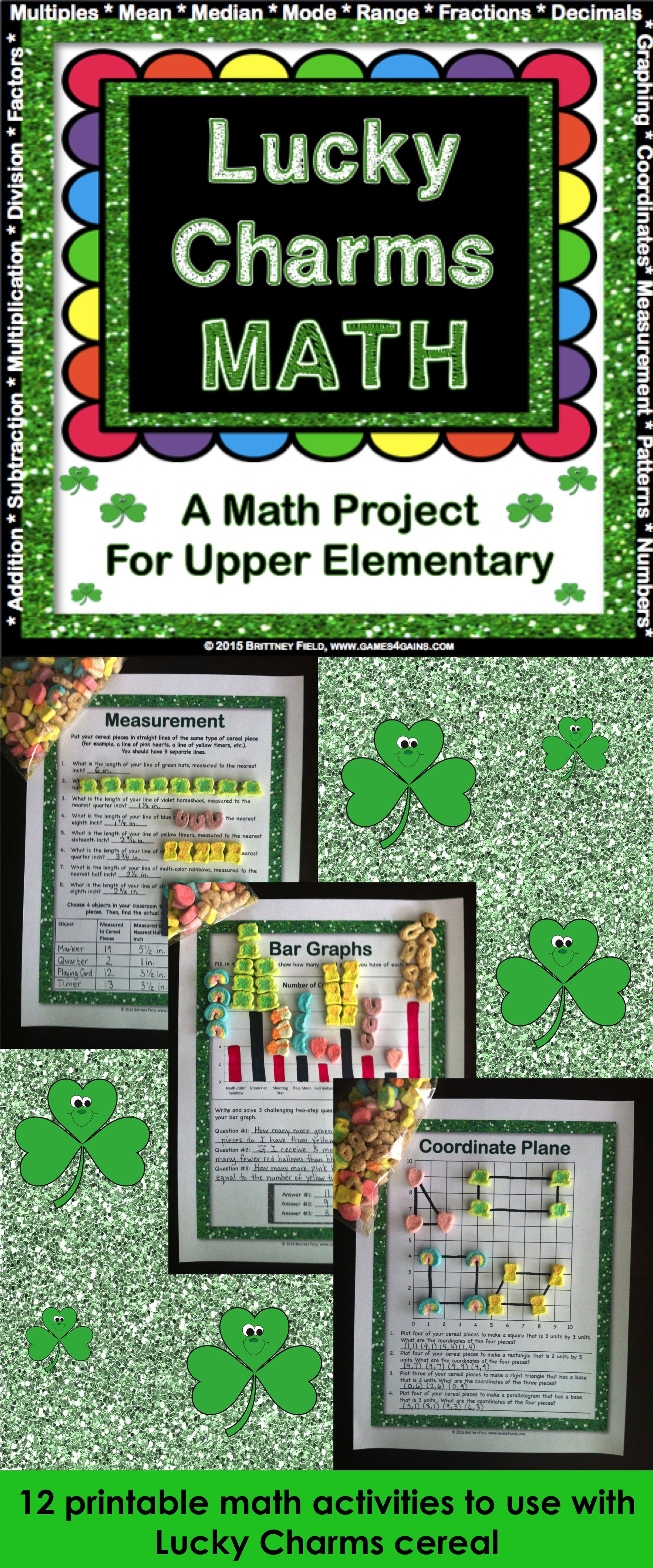 March Activities St Patrick S Day Math Lucky Charms