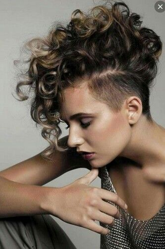 Curly Top Shaved Sides Mohawk Hairstyles For Girls Half Shaved Hair Short Curly Hairstyles For Women