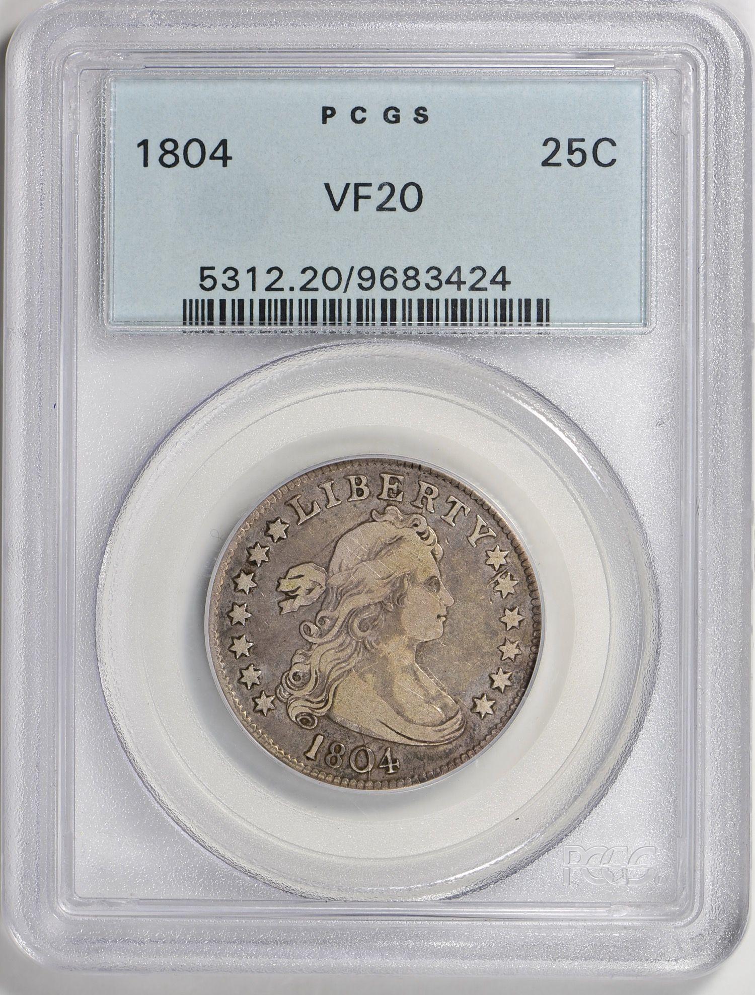 1804 Draped Bust Quarter Pcgs Vf 20 Ogh Quarterdollars Drapedbustquarters Pcgs Coins Coin Auctions Coins Pcgs