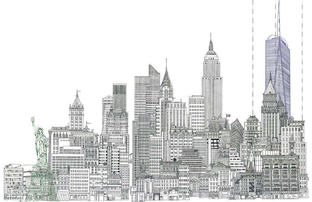 Line Drawing Buildings : Line drawing of new york city skyline with statue