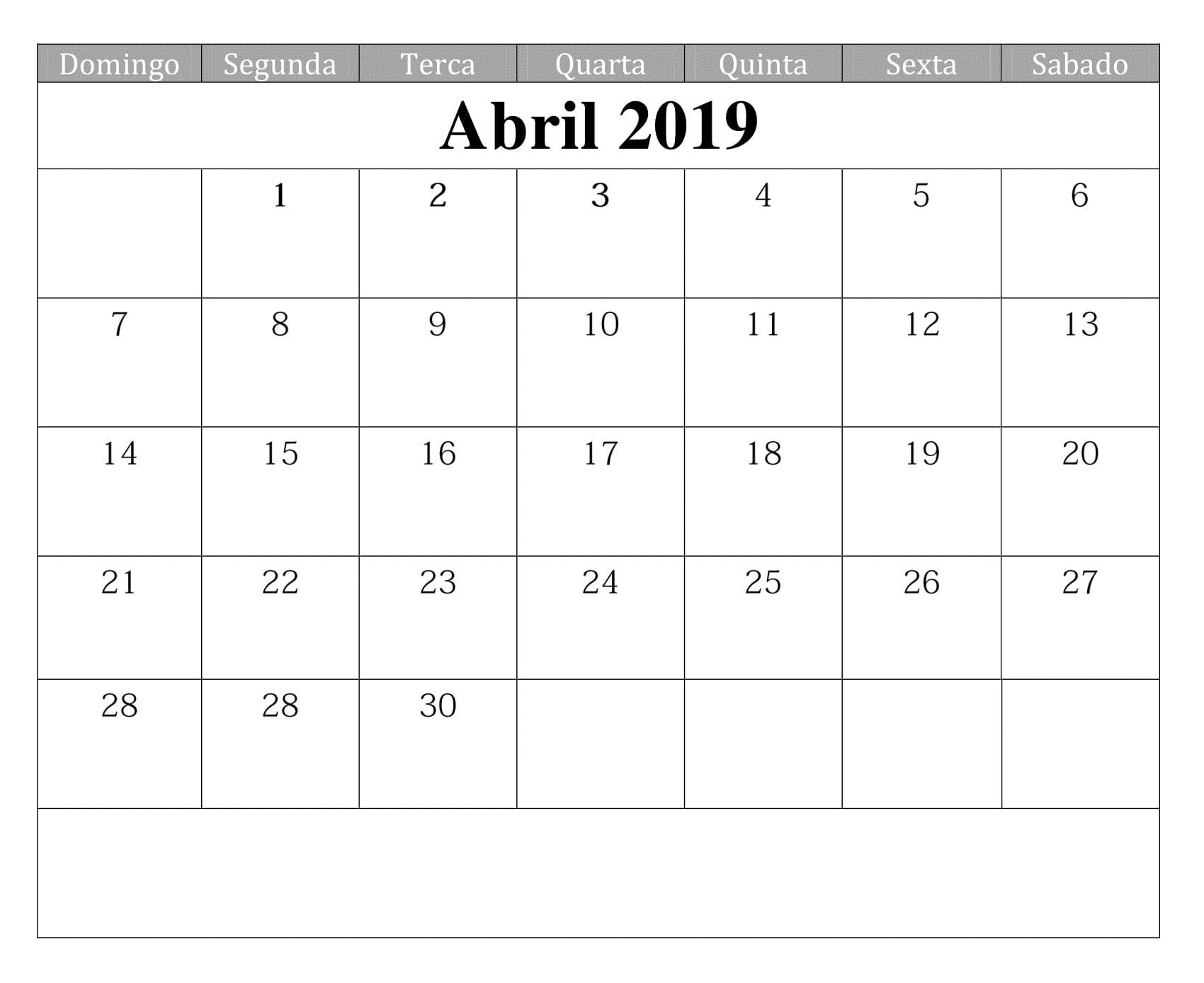 Mini Calendario 2019 Para Imprimir Grande.Calendario Abril 2019 Imprimir Calendario Abril 2019