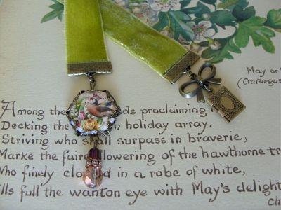 Moss Green Velvet Ribbon Trinket Bookmark | JO JO DE BULMER MISI Handmade Shop