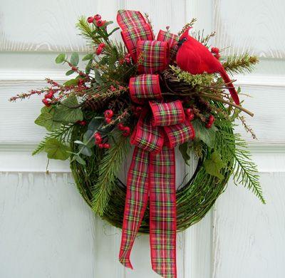 Green Twig Cardinal Wreath
