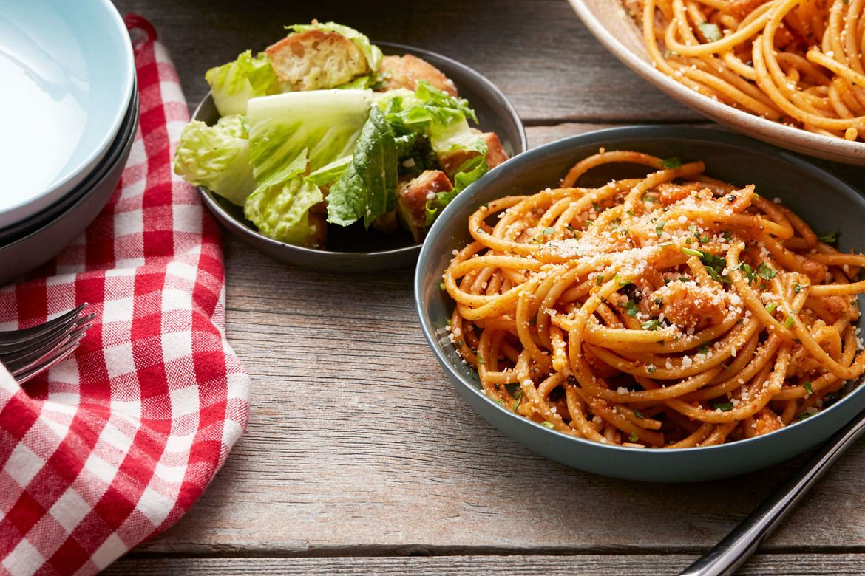 Blue apron bucatini - Sicilian Style Bucatini With Caesar Salad Homemade Croutons