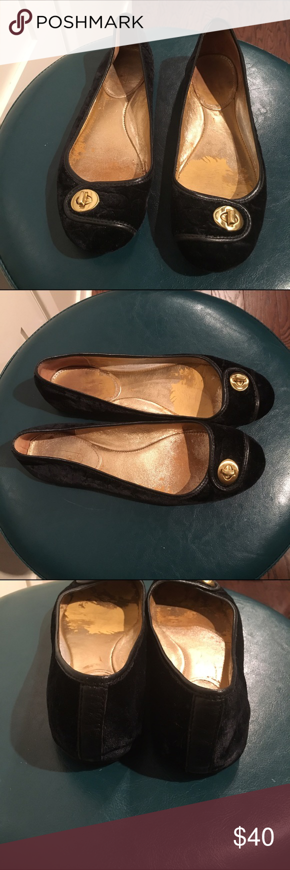 Coach black velvet ballet flats sz 8.5 Used Coach black velvet ballet flats sz 8.5. The insides and soles are worn but the velvet on the outside is like new. I never wore these outside, only around the office. Coach Shoes Flats & Loafers