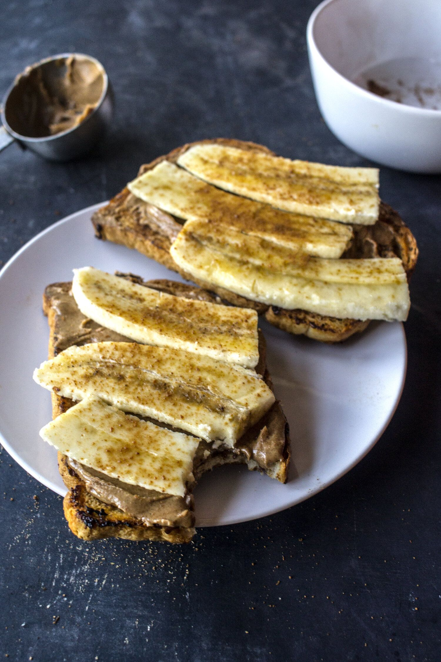 Cinnamon toast with almond butter chocolate for basil in