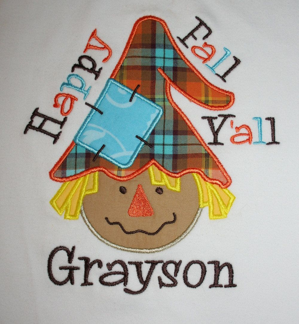 Happy Fall Y'all BOY Scarecrow Shirt via Etsy.