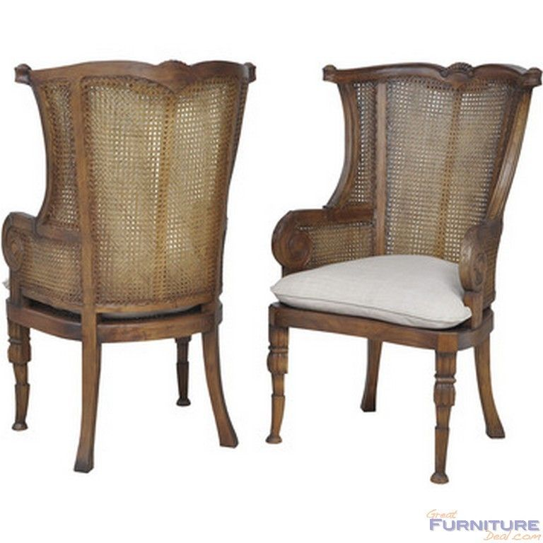 Guildmaster caned wing back chair set of 2 gm