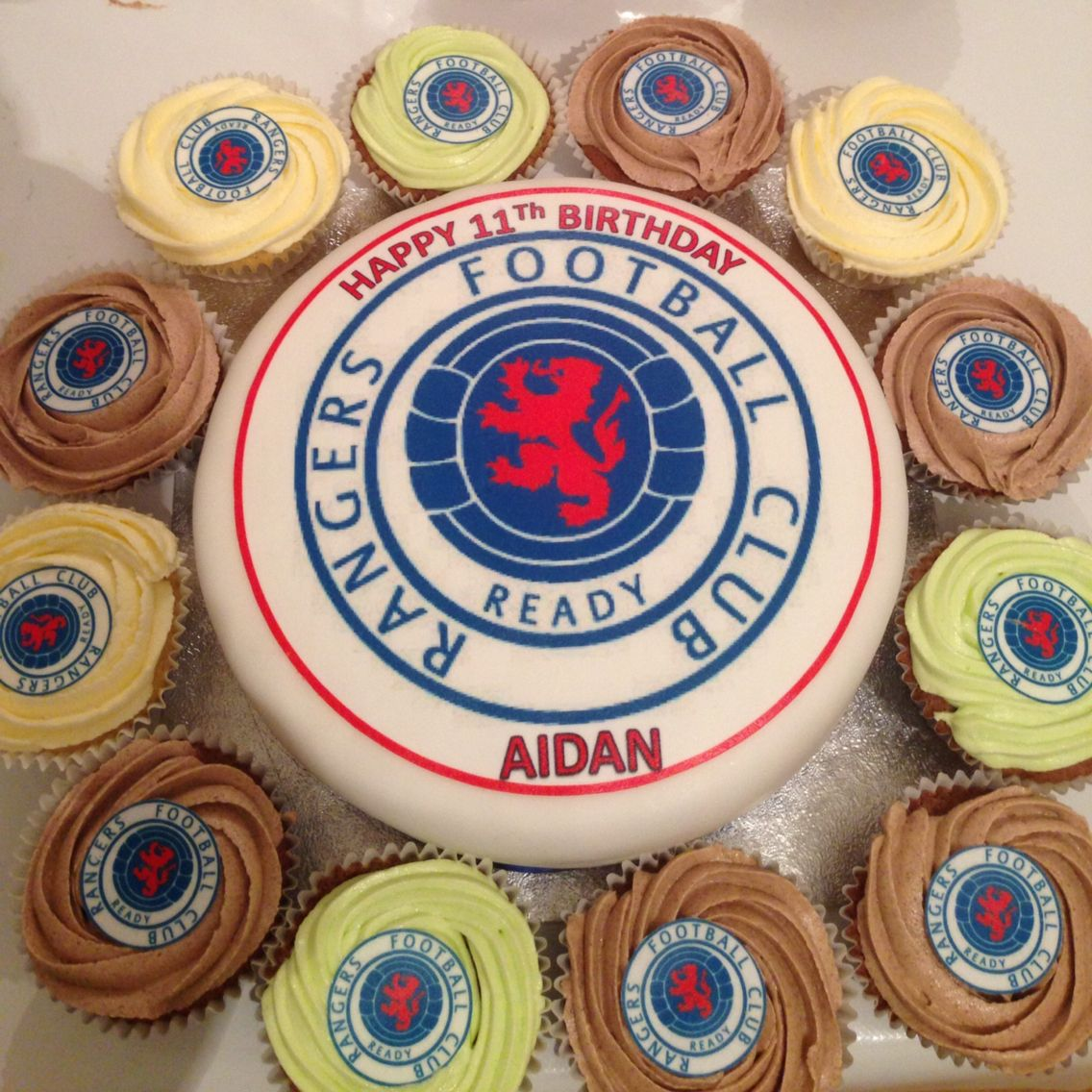 Rangers fc cake and cupcakes