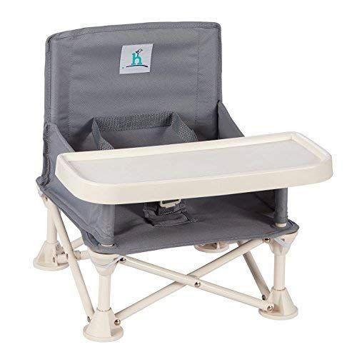 hiccapop Omniboost Travel Booster Seat with Tray for Baby   Folding Portable High Chair for Eating, Camping, Beach, Lawn, Grandma's   TipFree Design Straps to Kitchen Chairs  GoAnywhere High Chair is part of Portable high chairs - TRAVELFRIENDLY   Planning a day at the beach, a weekend camping, a visit to Grandma's house, going out to dinner or spending a quiet evening at home  OmniBoost will conveniently, comfortably and safely provide the perfect space for baby to sit, eat, and play  Lightweight FRUSTRATIONFREE folding frame pops open and compactly folds down for travel  The rear pocket for bibs & spoons, plus a shoulder carry bag for sanitary storage make the Omniboost the ideal travel booster chair  COMFORT FIT SAFETY HARNESS   Keep your child fully secured with hiccapop's gentle restraint system, ergonomically designed to keep even the most wiggly toddler in place and cozy  Plus, the buckles are easily released using only one hand! MACHINE WASHABLE COVER   We all know that babies are messy eaters! Our travel high chair is designed to effortlessly wipe clean, allowing more quality time with your precious tot  To assist with the inevitable mess, the fabric cover slides off the frame for machine washing  a must have for sanitizing and spaghetti stain removal