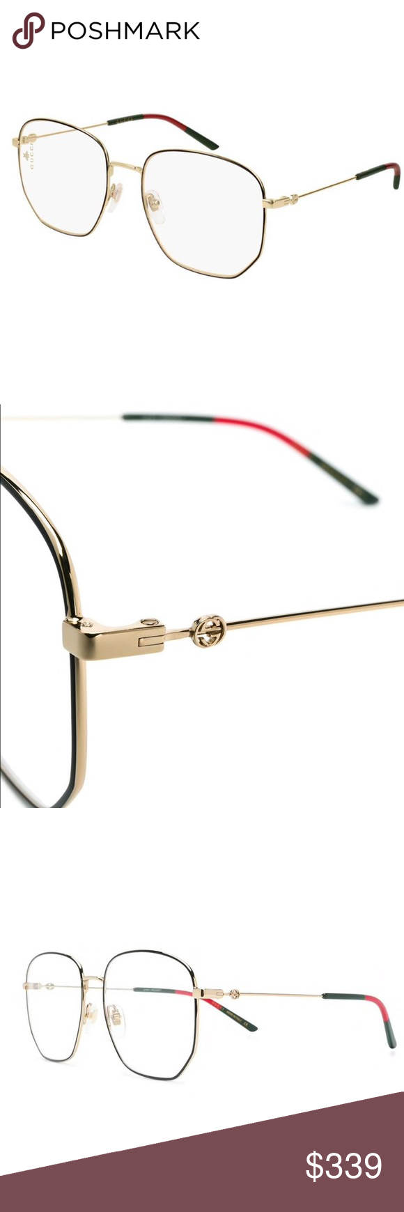 73be551d06a5 Gucci GG0396O Eyeglasses 🆕‼ Made from black and gold-tone acetate, these  hexagonal frame glasses from Gucci Eyewear feature straight arms with  curved ...