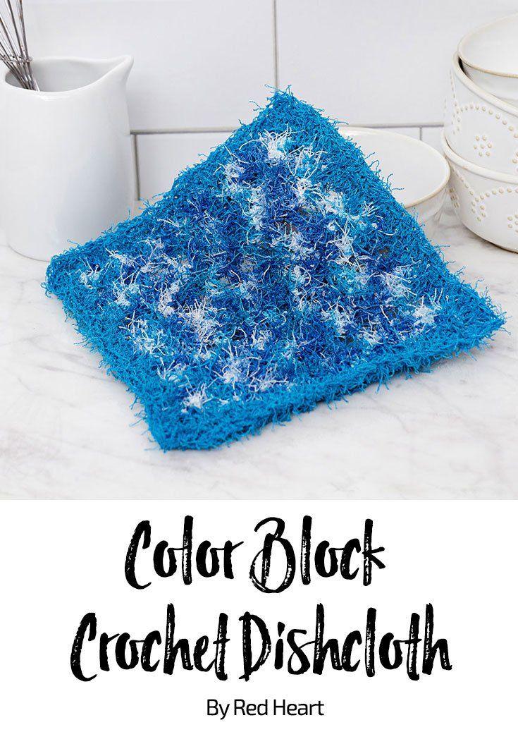Color Block Crochet Dishcloth free crochet pattern in Scrubby yarn ...