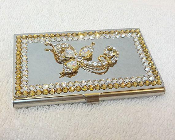 Rhinestone Business Card Holder Case By Pegsembellishedgifts