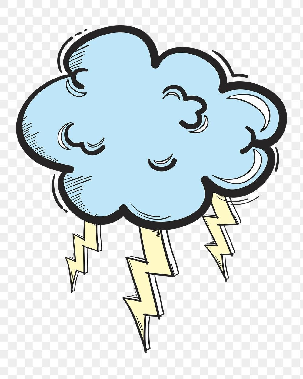 Png Thunder Cloud Cartoon Doodle Hand Drawn Sticker Free Image By Rawpixel Com Neung How To Draw Hands Cute Doodles Free Illustrations