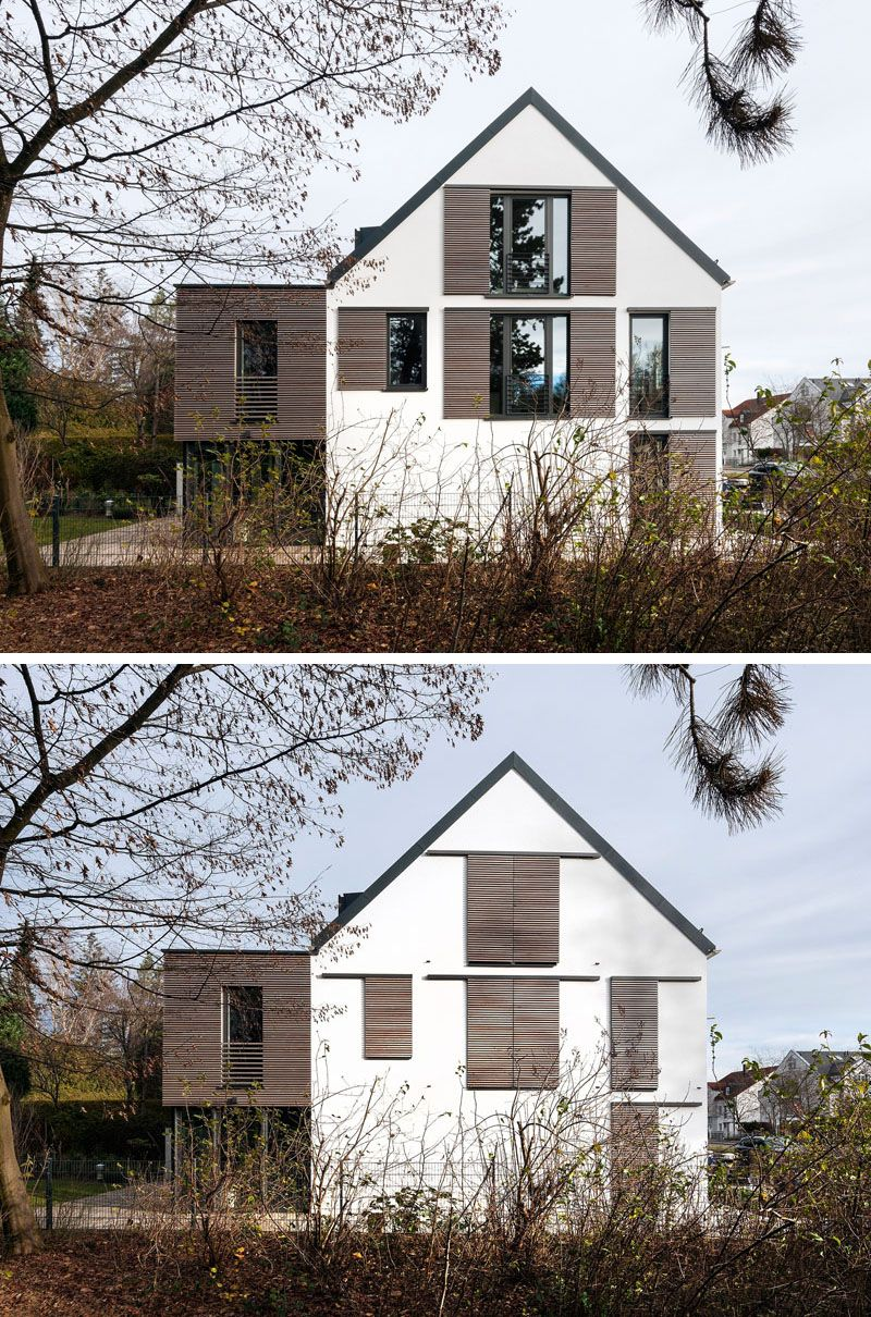 This House Has Modern Window Shutters That Match The Wooden Siding