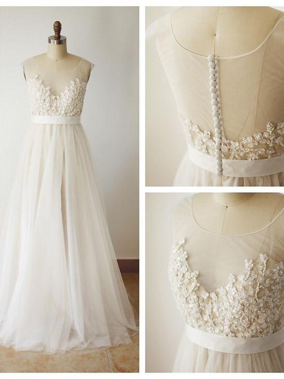 Illusion Open Back Lace Wedding Dress,Vintage Lace Wedding Dress ...